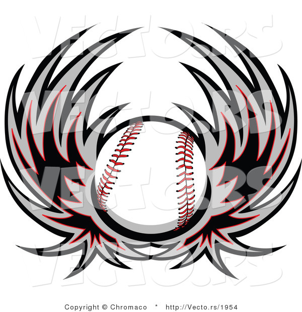 Vector of a Flying Baseball with Wings