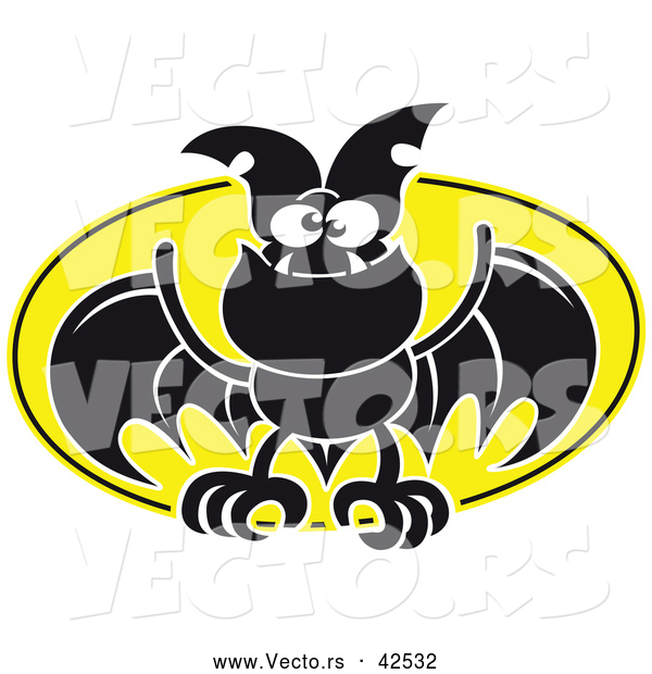 Vector of a Flying Cartoon Bat Against a Full Moon