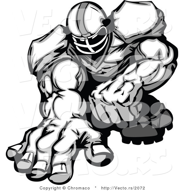 Vector of a Football Player Crouched down and Ready to Charge Forward