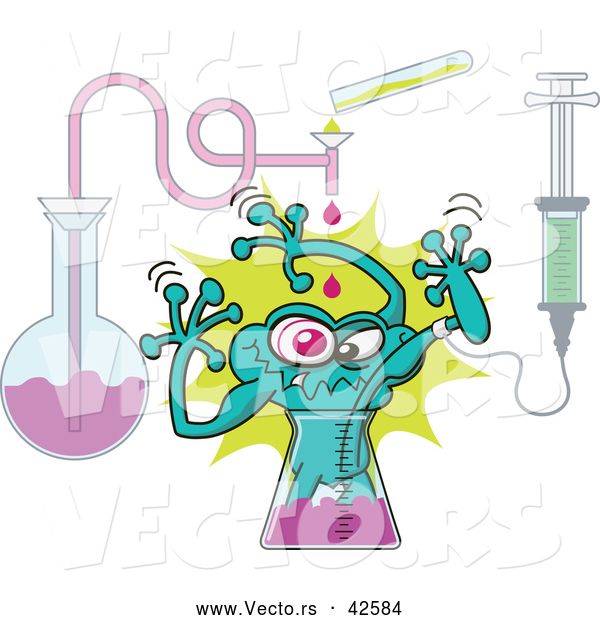 Vector of a Freaky Cartoon Mutant Creature Being Born from a Test Tube in a Science Lab