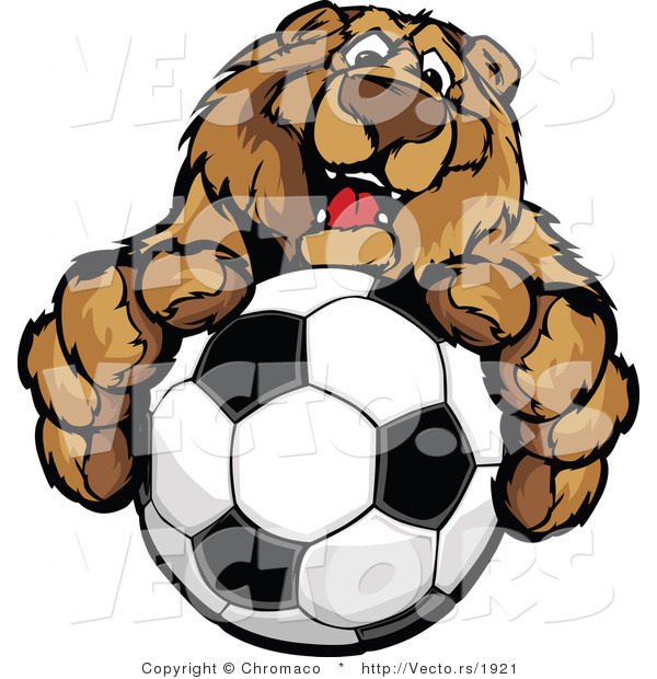 Vector of a Friendly Cartoon Bear Mascot Gripping Soccer Ball with Paws