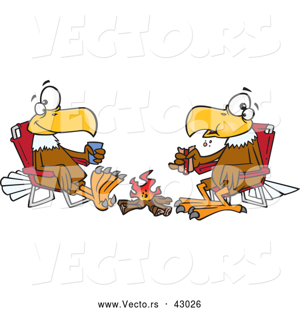 Vector of a Friendly Cartoon Eagles Eating Lunch in Front of a Campfire