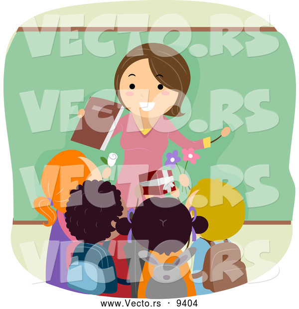 Vector of a Friendly Cartoon Female School Teacher Being Greeting with Gifts from Her Happy Students