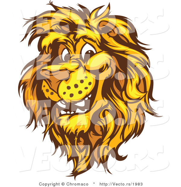 Vector of a Friendly Cartoon Male Lion Mascot Smiling