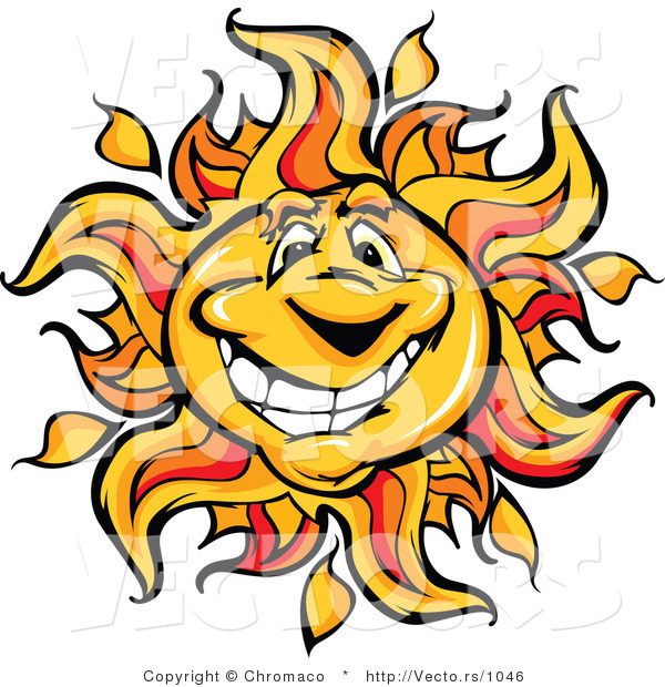 Vector of a Friendly Cartoon Sun Mascot with Big Smile