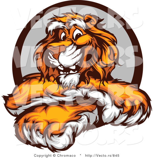 Vector of a Friendly Cartoon Tiger Mascot with Crossed Paws