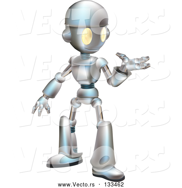 Vector of a Friendly Futuristic Robot Gesturing with One Hand