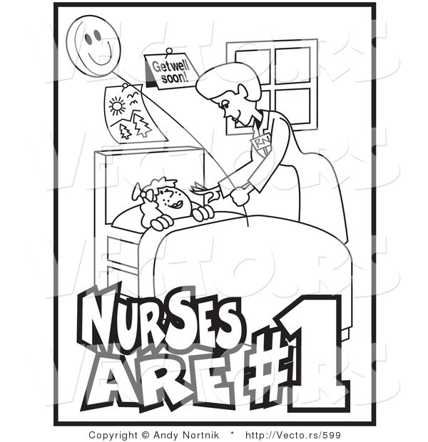 Vector of a Friendly Nurse Checking on Sick Child Resting in a Medical Bed - Line Drawing