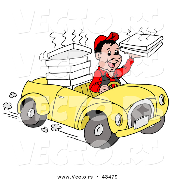 Vector of a Friendly Pizza Delivery Boy Driving a Yellow Car and Holding a Steamy Pizza Box