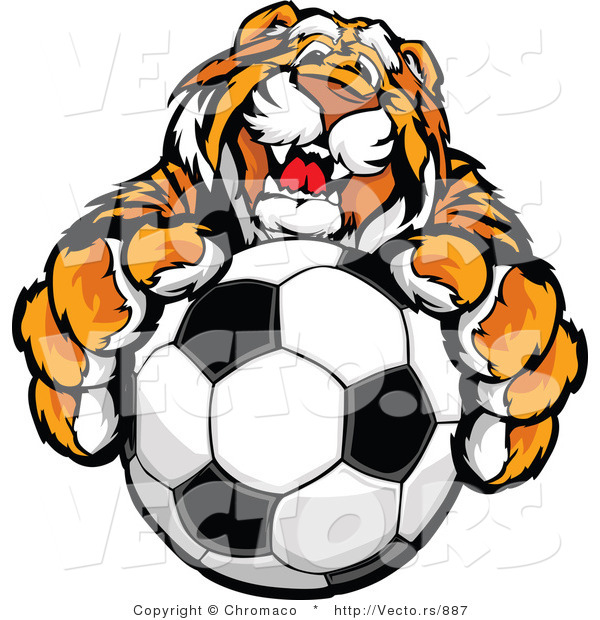 Vector of a Friendly Tiger Mascot Gripping Soccer Ball
