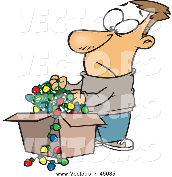 Vector of a Frowning Cartoon Man Pulling out Tangled Wires with Christmas Lights from a Storage Box