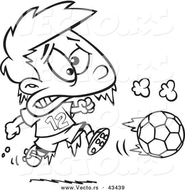 Vector of a Frozen Cartoon Boy Playing Soccer - Coloring Page Outline