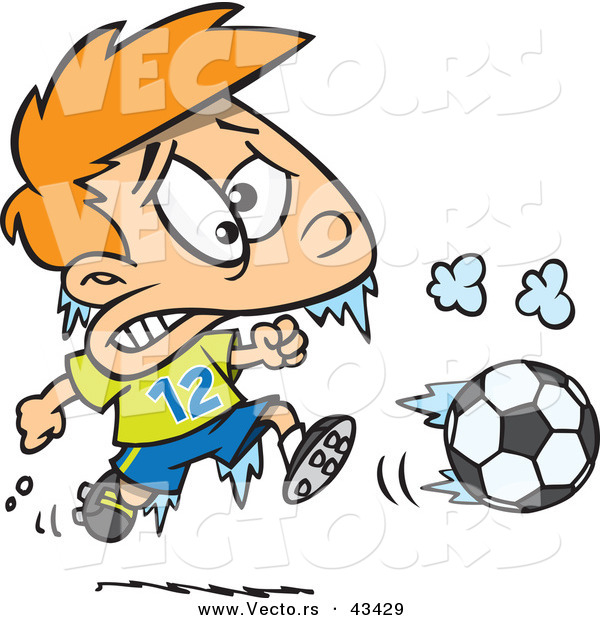 : Vector of a Frozen Cartoon Boy Playing Soccer in Cold Weather