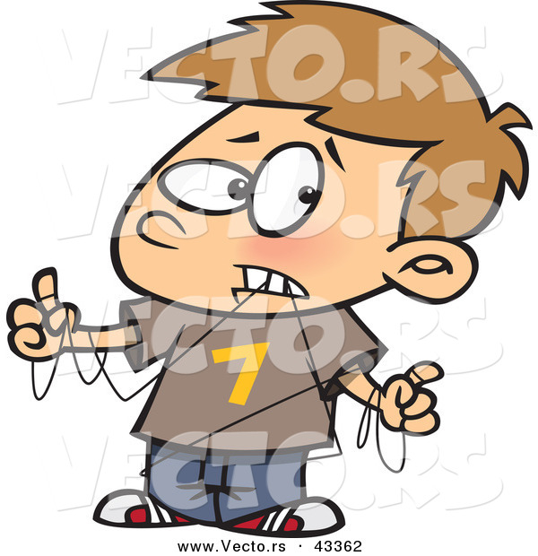Vector of a Frusterated Cartoon Boy Trying to Dental Floss
