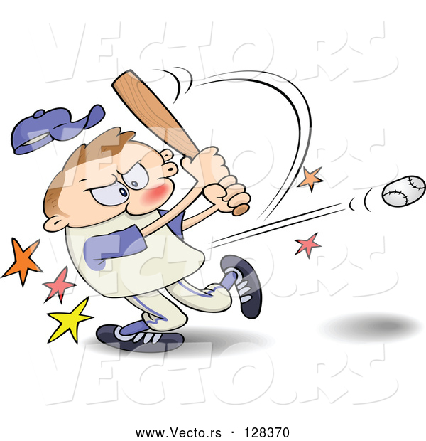 Vector of a Frustrated Cartoon Man Hitting a Baseball with a Bat