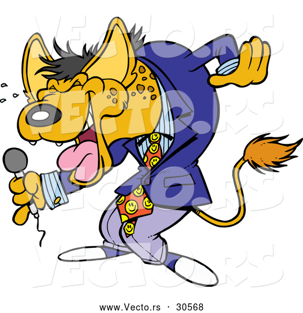 Vector of a Funny Cartoon Hyena Comedian Laughing