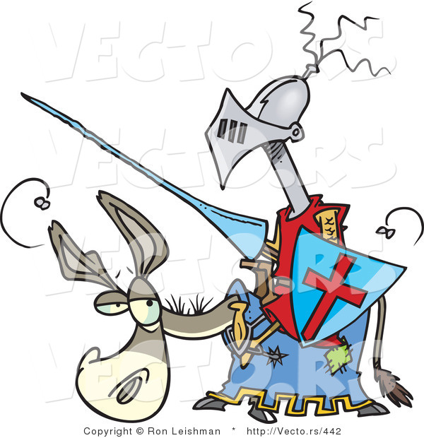 Vector of a Funny Cartoon Jouster on a Donkey with Lance and Shield