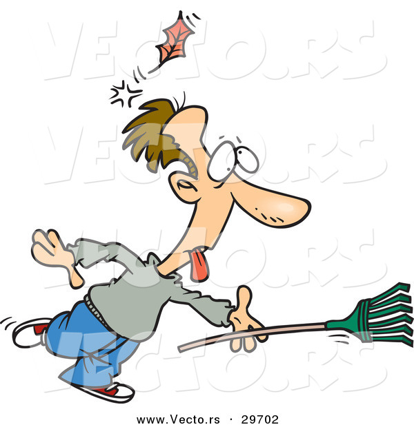 Vector of a Funny Cartoon Man Running with a Rake While Getting Knocked out by a Falling Leaf