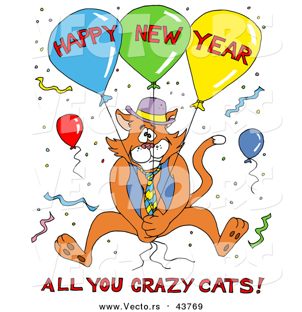 Vector of a Ginger Cat in a Vest and Tie, Holding onto Balloons and Surrounded by Confetti at a Party, with Happy New Year All You Crazy Cats Text