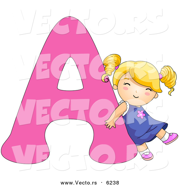 Vector of a Girl Leaning on Alphabet Letter a