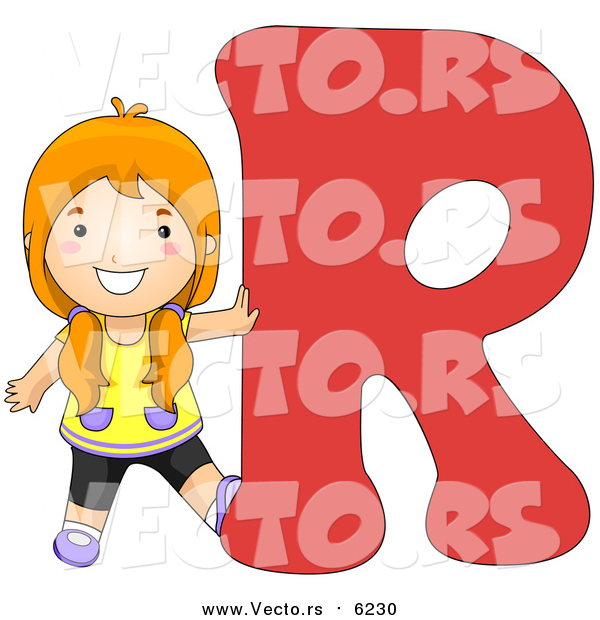 Vector of a Girl Touching Alphabet Letter R
