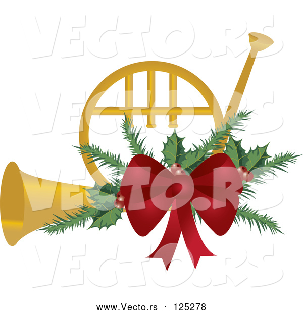 Vector of a Gold Christmas French Horn with Holly and a Red Bow