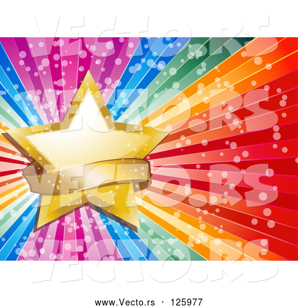 Vector of a Gold Star and Sparkly Banner on a Bursting Rainbow Background