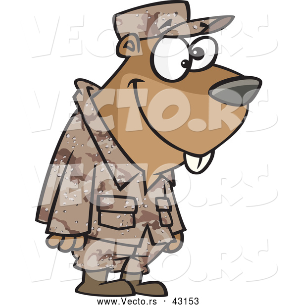 Vector of a Goofy Cartoon Military Gopher Standing in Uniform