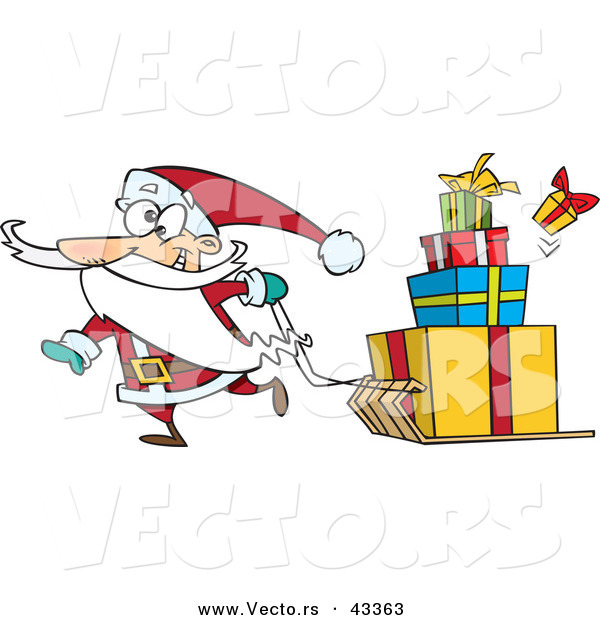 Vector of a Goofy Cartoon Santa Pulling Christmas Gifts on a Sled