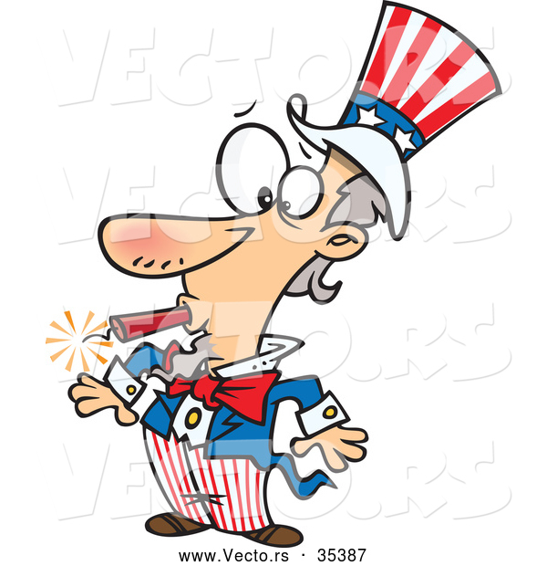 Vector of a Goofy Cartoon Uncle Sam with a Lit Dynamite Stick in His Mouth