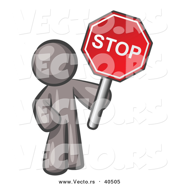 Vector of a Gray Man Holding a Red Stop Sign