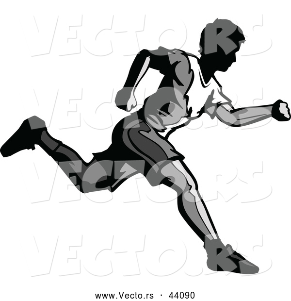 Vector of a Grayscaled Young Man Running Forward