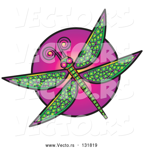 Vector of a Green Dragonfly over a Purple Circle