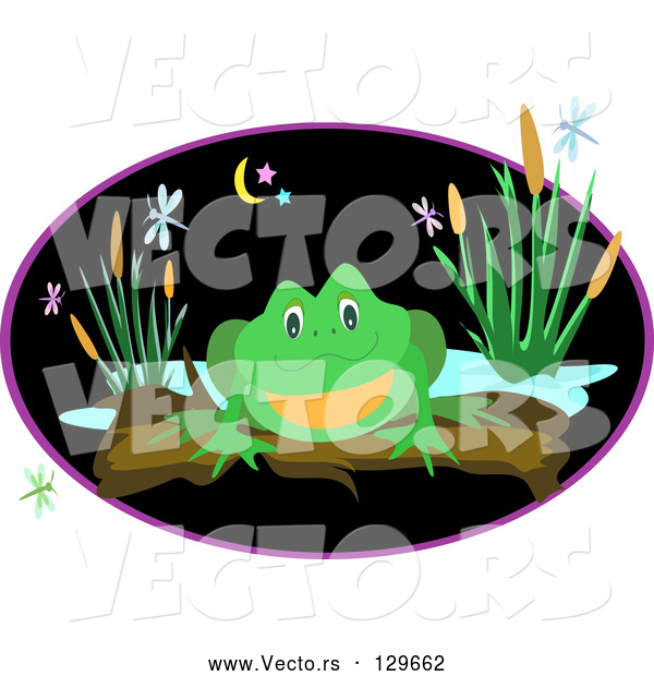 Vector of a Green Frog Perched on a Log near a Pond with Dragonflies and Plants at Night