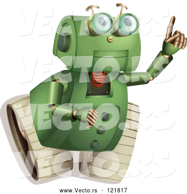 Vector of a Green Robot Pointing and Looking up