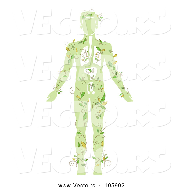 Vector of a Green Silhouetted Guy with Vines and Visible Organs