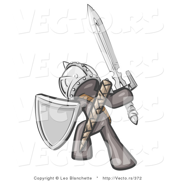 Vector of a Grey Knight with Shield and Sword