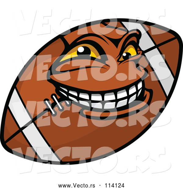 Vector of a Grinning Cartoon American Football Mascot