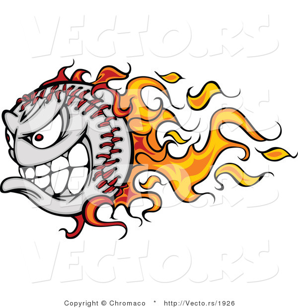 Vector of a Grinning Cartoon Baseball Mascot with Flame Trails and Intimidating Red Eyes