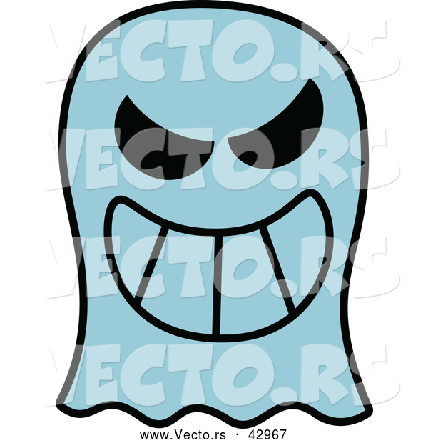 Vector of a Grinning Cartoon Ghost