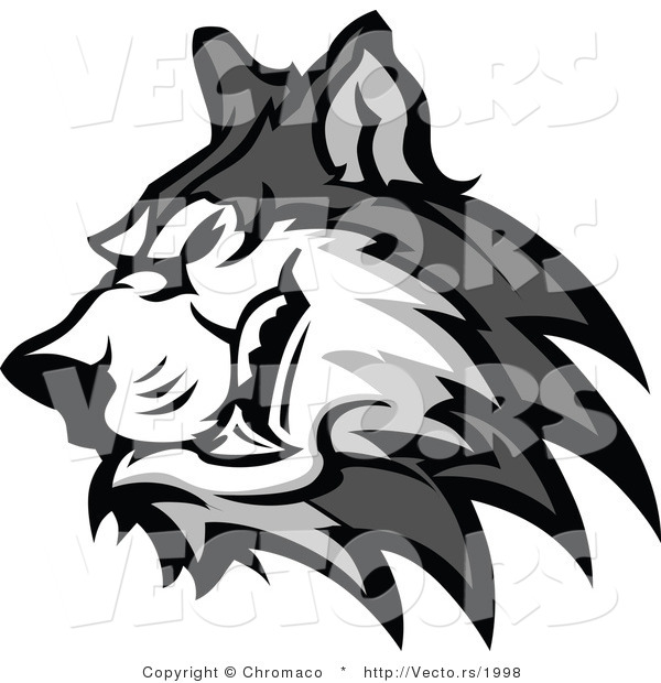 Vector of a Grinning Cartoon Husky Dog Growling