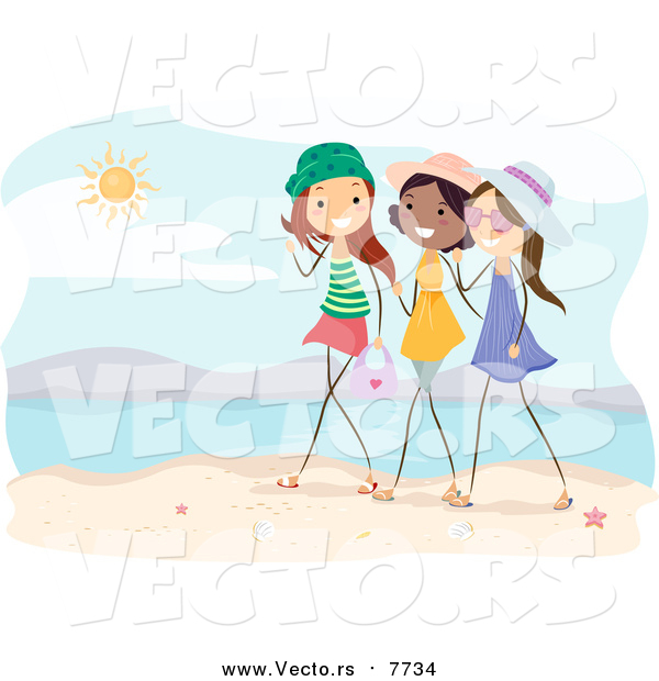 Vector of a Group of Girls Talking on a Beach