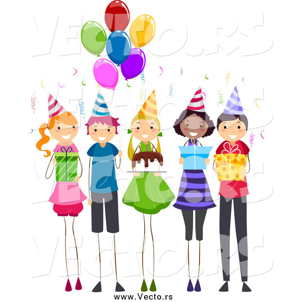 Vector of a Group of Happy Children at a Birthday Party