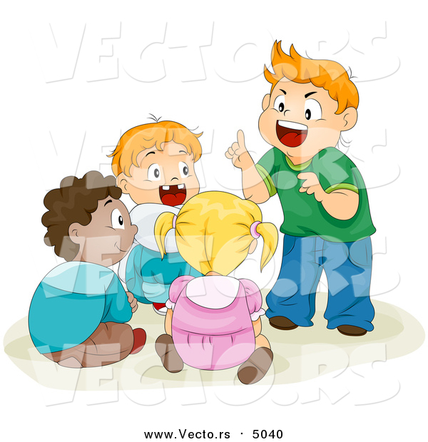 Vector of a Group of School Children Telling Stories