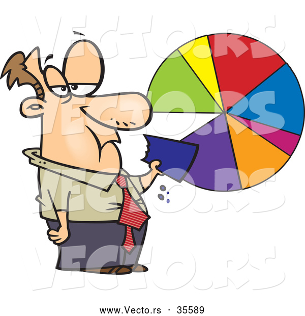 Vector of a Grumpy Cartoon Businessman Eating a Slice of a Pie Chart
