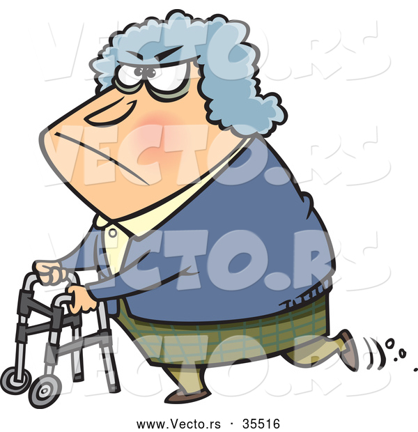 Vector of a Grumpy Old Lady Using a Walker - Cartoon Styled