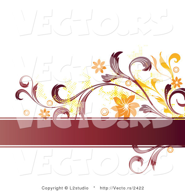 Vector of a Grunge Styled Text Box with Orange and Red Flower Background