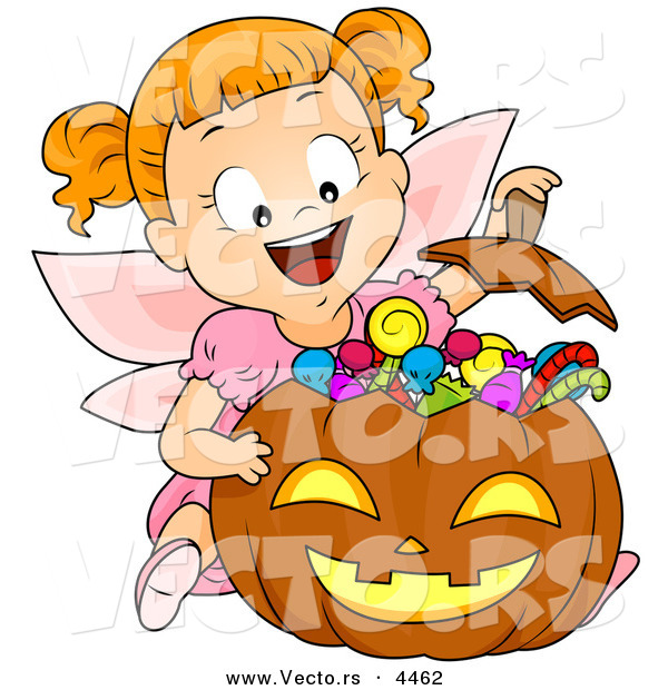 Vector of a Halloween Cartoon Girl in a Fairy Costume Witting Behind Her Candy Stash in a Pumpkin