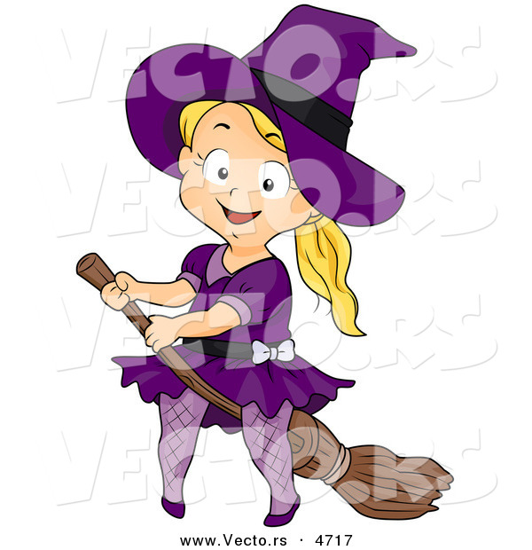 Vector of a Halloween Cartoon Girl Witch Riding a Broomstick