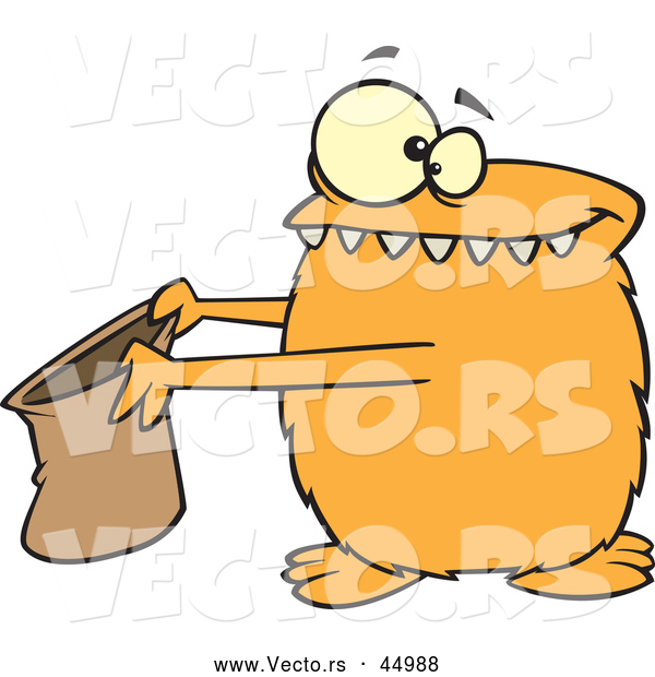 Vector of a Halloween Cartoon Orange Monster Holding out a Candy Bag